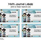 "I print these ""Math Journal Labels"" on solid white sheets of sticker paper and then cut them out with a paper cutter.  Finished, they're about the ..."