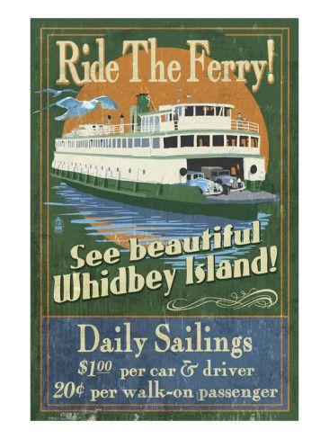 Whidbey Island, Washington - Ferry - Art Print