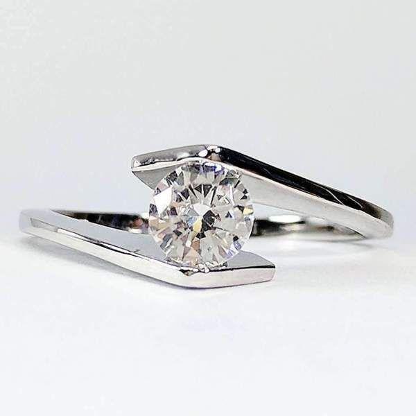 Mia 50ct Tension Set Bypass Iobi Simulated Diamond Ring Simulated Diamond Rings Floating Diamond Ring Diamond Ring