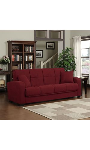 Portfolio Turco Convert a Couch Crimson Red  The Portfolio Turco Convert-a-Couch Features A Transitional built Sofa Sleeper having Thick Roadster Styled