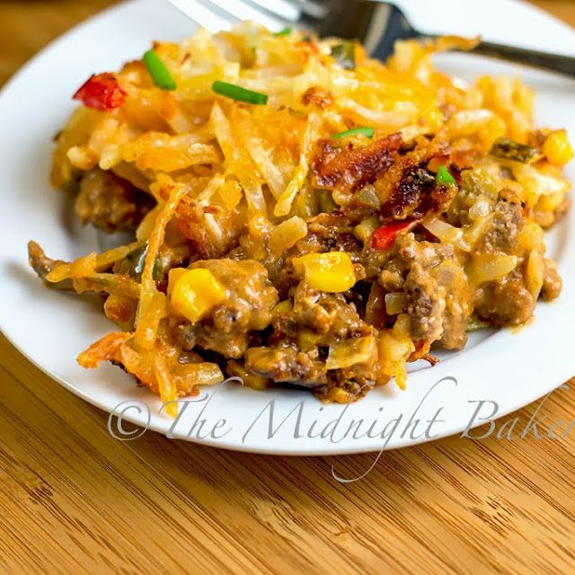 Mexicali Hashbrown Taco Casserole (hb meat, green and red bell pepper, corn, taco seasoning, tomato soup, cream chz, onion, mexican style shredded chz, s&p, frozen hash browns)