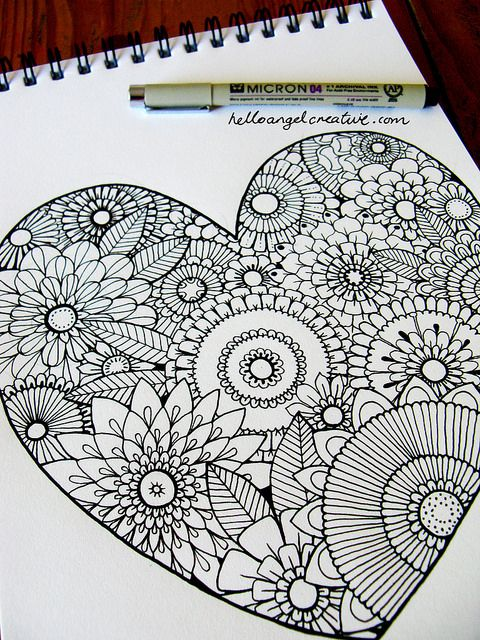 Floral Heart Outlines by Hello Angel Creative, via Flickr