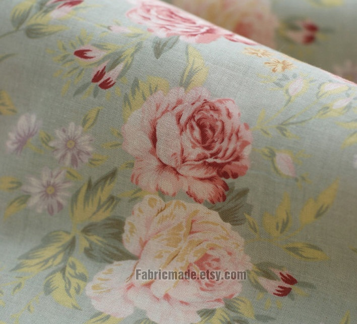 Peony cotton fabric pink peony green background shabby for Shabby chic yard