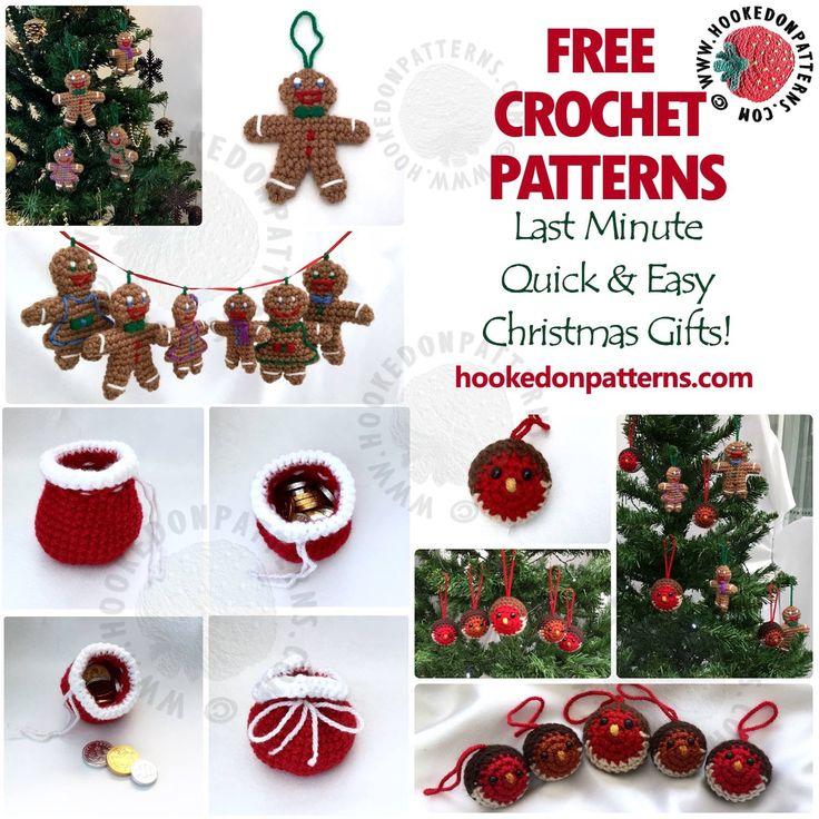 FREE last minute Christmas gifts! Unexpected guest coming for the holiday celebrations? Need a last minute gift? Don't worry, you can hook up these cute little gifts in no time! Find all of these FREE seasonal crochet patterns at Hooked On Patterns.