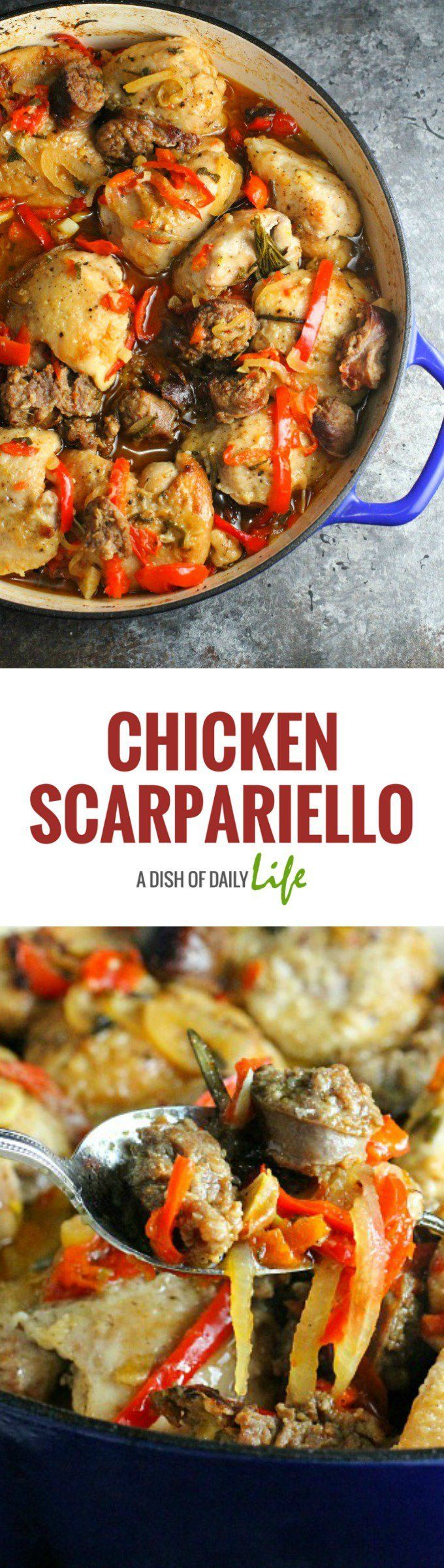 Chicken Scarpariello...a flavor packed sweet and sour chicken and sausage dish with Peppadews and red bell peppers!