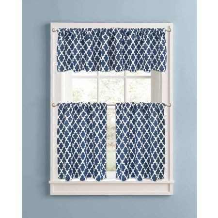 Better Homes and Gardens Indigo Tangier Tier Pair,printed thermal 99% Light Blocking curtain, rod pocket