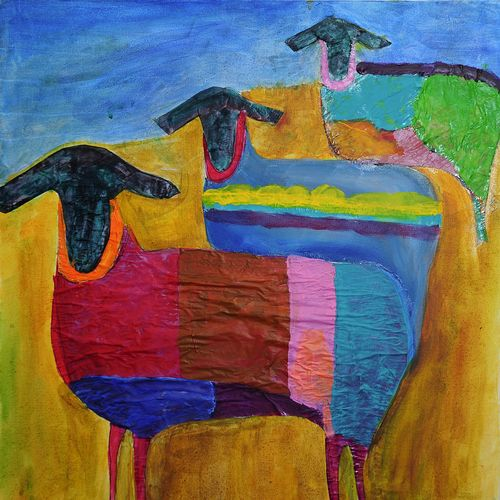 """""""We Three Sheep,"""" Acrylic on Canvas Wrap. $350. Terms available. Please visit my web site, http://www.tomplummer.com/paintings-1/ikpylbndryoh9d57fhfr2pwbagqcxl"""