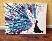 Mon CD ORIGINAL ! Hand Painted Elsa Silhouette avec « Let it go » main imprimé sur toile.   Colorie fondu et morceau de peinture acrylique  ❥If vous avez des demandes de couleurs personnalisées pour cette pièce, sil vous plaît me message directement avec votre demande afin de confirmer avec moi avant de lacheter !  ❥Please remarque que limage est une représentation de la pièce que vous recevrez. Chaque pièce est fait main, fondu un crayon à la fois et est fait pour vous au moment de lachat…