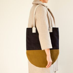 Semi-Circle Color Block Tote - Navy, Olive, Light Beige