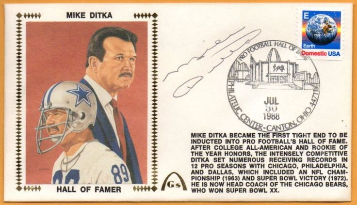 Mike Ditka BLEM Hall Of Fame Autographed Gateway Stamp Envelope - Chicago Bears #ChicagoBears