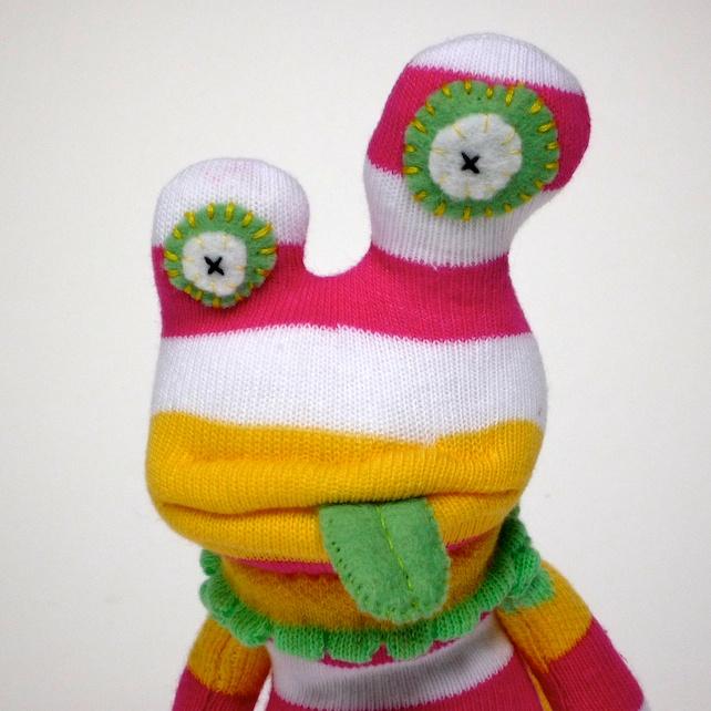 Sock Monster Alien - Pink, White & Yellow Stripes
