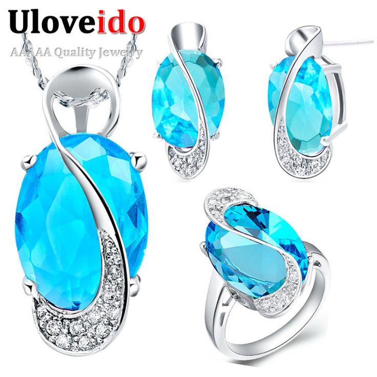 2016 New Sterling 925 Silver Jewelry Set Wedding Oval Blue Topaz Red Purple Stone CZ Ring Pendant Earrings Sapphire Jewelry T464 www.bernysjewels.com #bernysjewels #jewels #jewelry #nice #bags