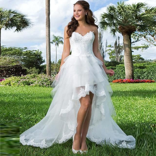 2016 New Arrival Elegant White Lace Appliques Front Short Long Back Wedding Dresses Sweep Train Bridal Gowns Vestidos De Noiva-in Wedding Dresses from Weddings & Events on Aliexpress.com | Alibaba Group