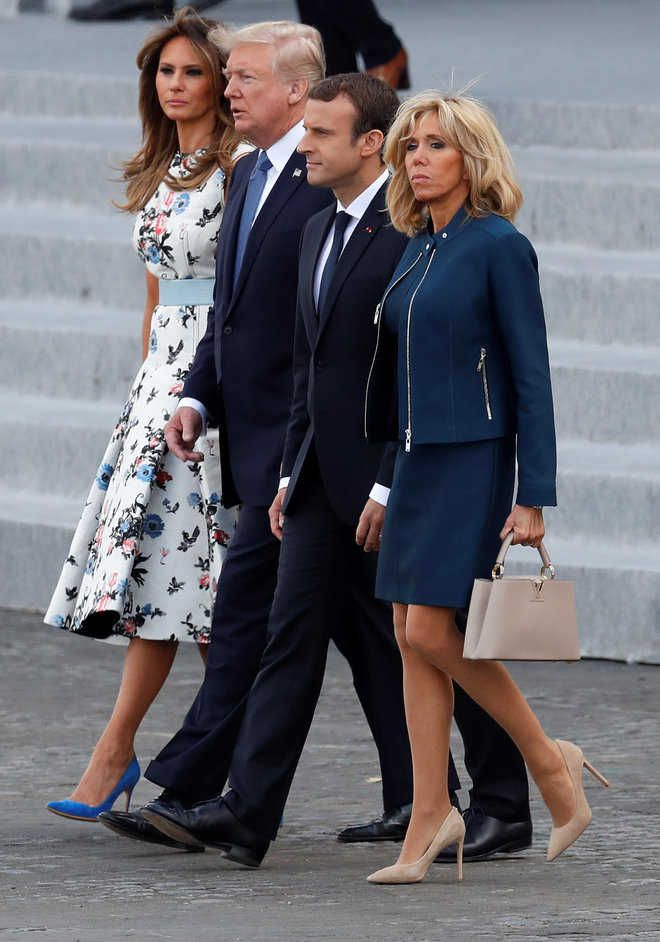 US President compliments Macron's wife for 'good shape'