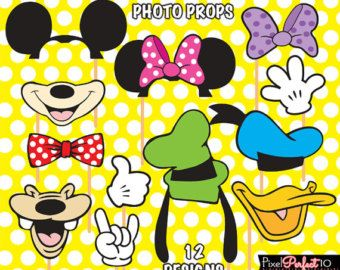 MICKEY MOUSE Photo Booth Props compleanno di di PixelPerfect10                                                                                                                                                                                 More