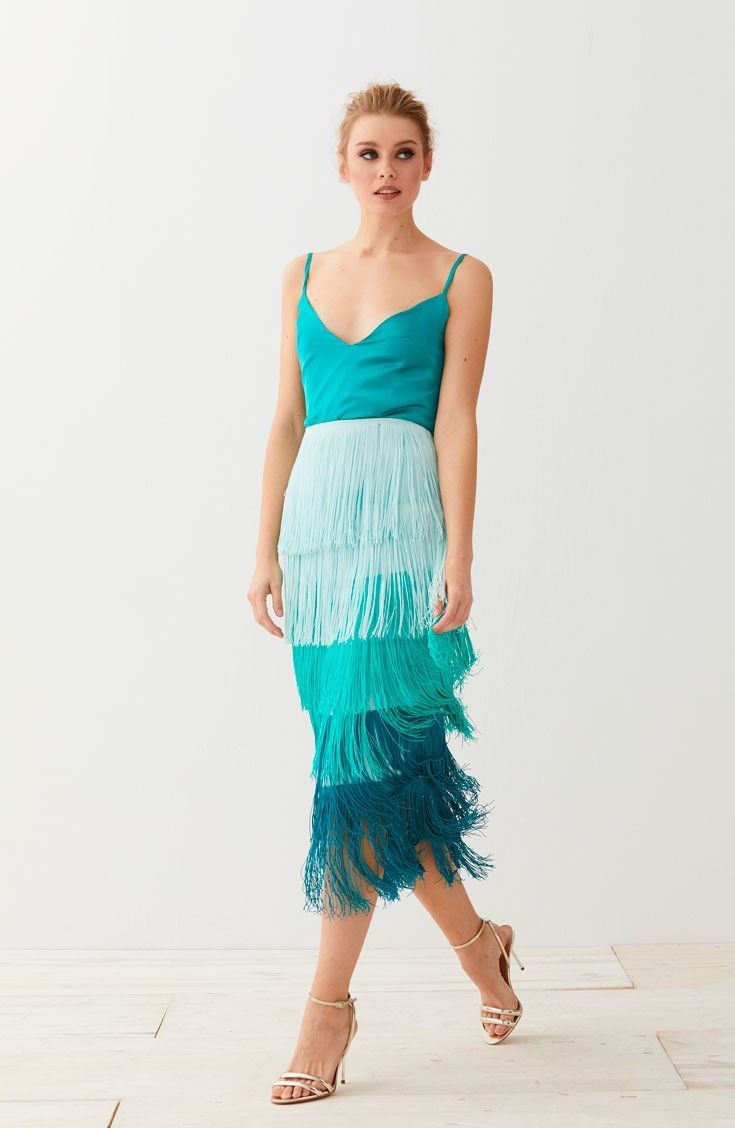 d2e6d4211 comprar online falda de flecos midi de crepe flecos de algodon color  aguamarina degradado ideal para invitadas de bodas de dia eventos fiestas  bautizos ...
