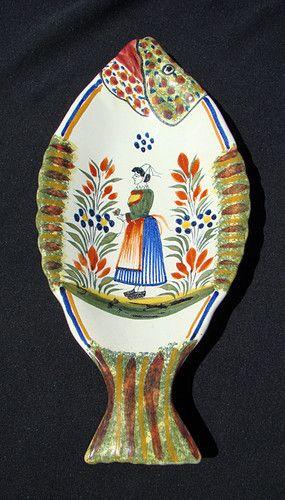 Figural Vintage Fish Dish French Henriot Quimper Pottery Breton Display Plate | eBay