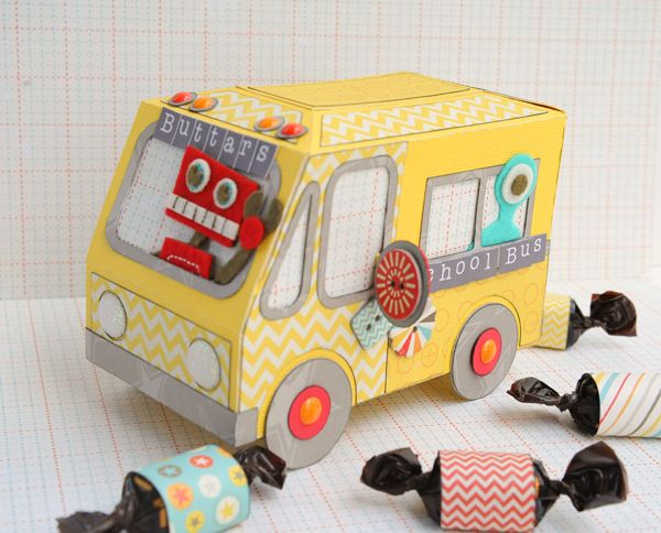 Jana needed a special gift for Teacher Appreciation Week so she turned the adorable Ice Cream Truck from ICE CREAM BIRTHDAY SVG KIT into this cute school bus!  It opens up in the back to hold a special treat!