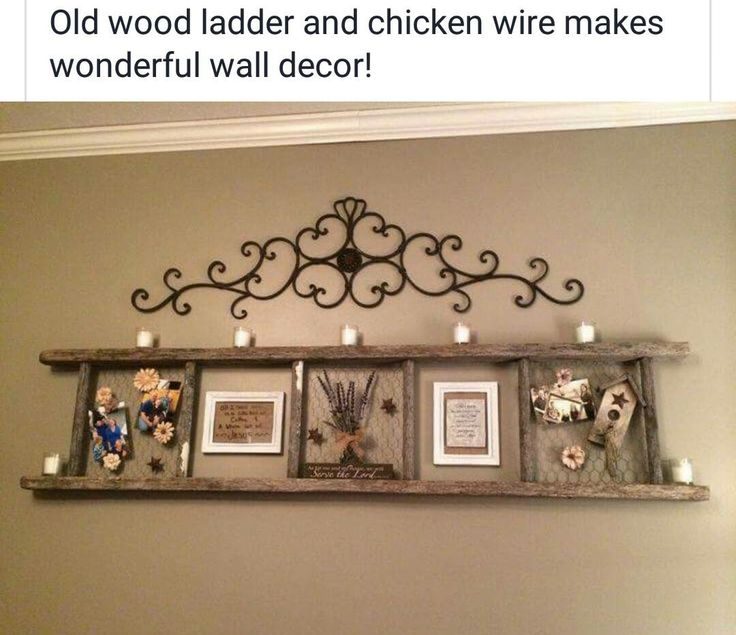 Old wooden ladder decor