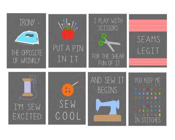 11 x 14 Set von acht dunkelgrauen lustigen Nähen Digital Art Prints; FACS-Klassenzimmer, Nähzimmer, Bastelraum   – Sewing