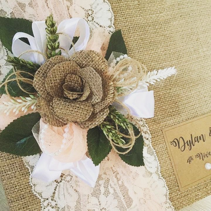 Rustic handmade guest books with Vintage La Belle