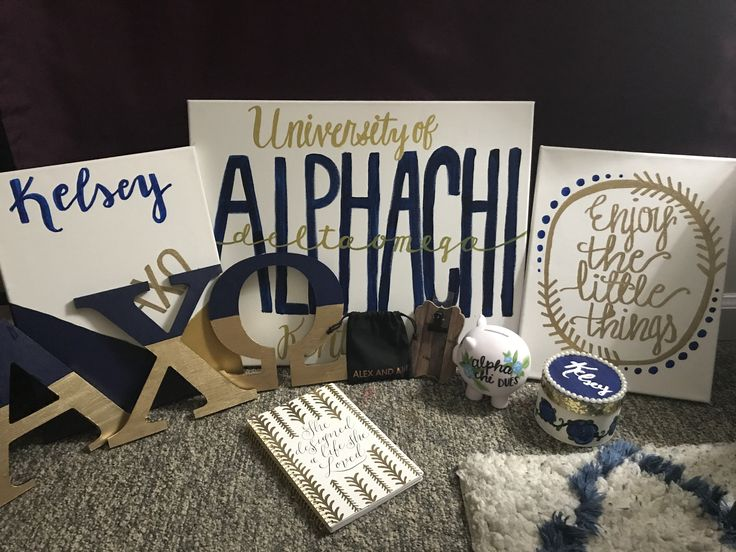Big Little Basket for Big/Lil Reveal Navy Gold White University of Kentucky Alpha Chi Omega