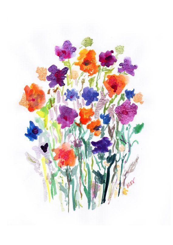 Watercolor Flower Painting Watercolor WildFlower by BelaAquarela