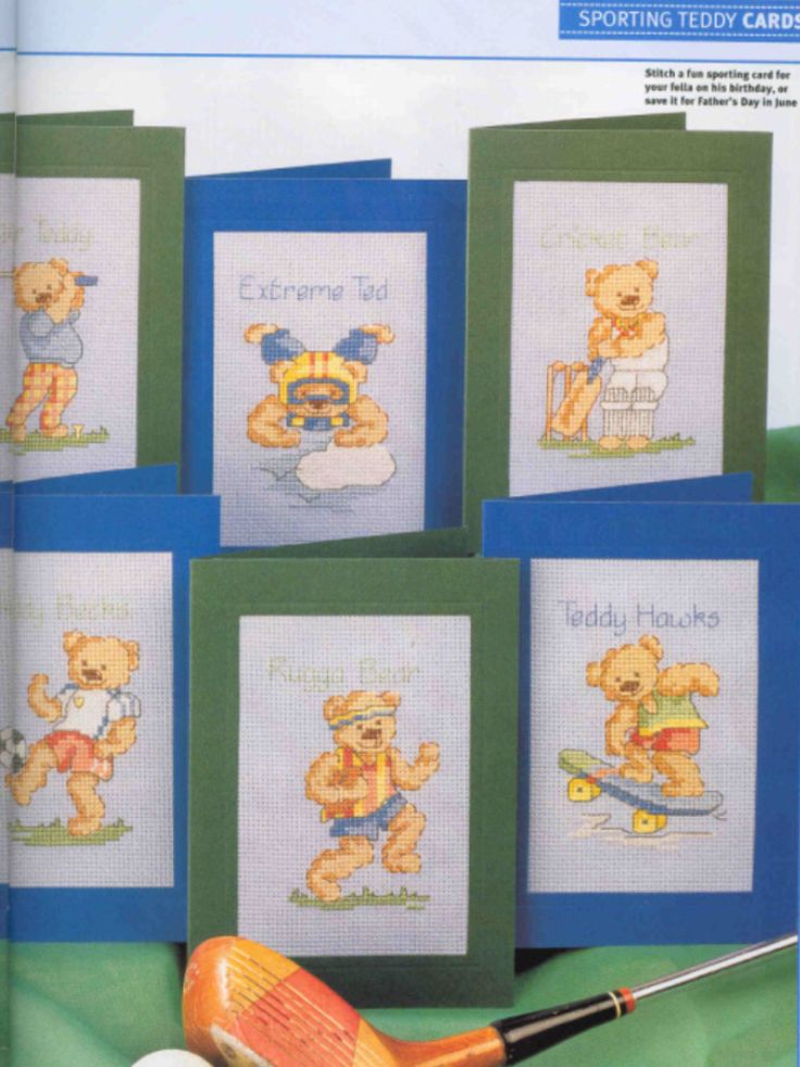 Sporting Teddy 2/2 Cross Stitch Card Shop Issue 35 March/April 2004 Saved