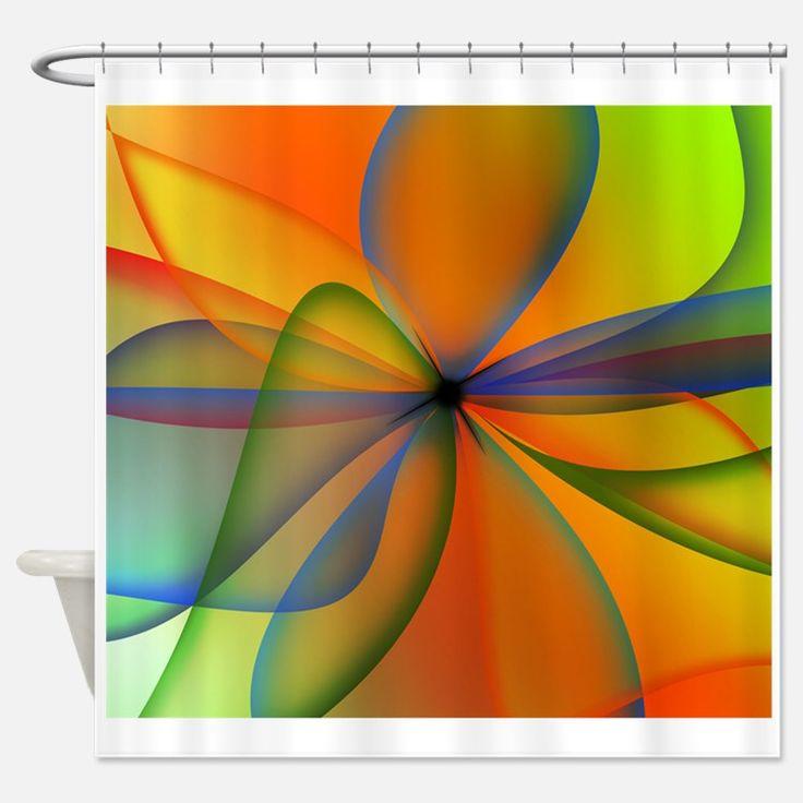 Orange Swirl Flower Shower Curtain For