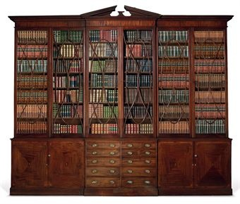 A GEORGE III BRASS-MOUNTED MAHOGANY SATINWOOD AND MARQUETRY BREAKFRONT LIBRARY BOOKCASE CIRCA 1780