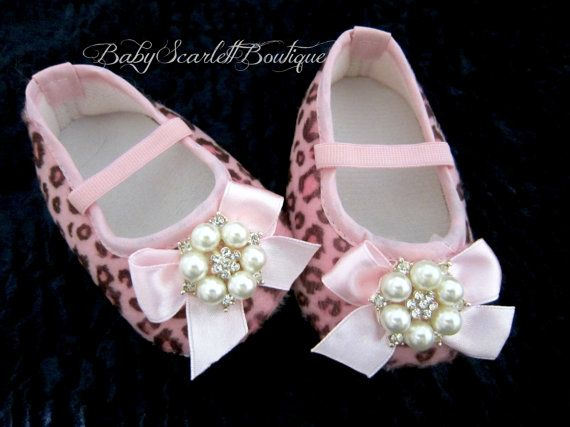 Pink Leopard Baby Girl Soft Sole ShoesCrib by babyScarlettBoutique