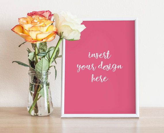 White Plastic Frame Mockup And A Bouquet Of Roses  by JeanBalogh