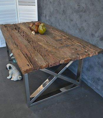 LARGE INDUSTRIAL RUSTIC RECYCLED TIMBER STEEL BASE REFECTORY DINING TABLE