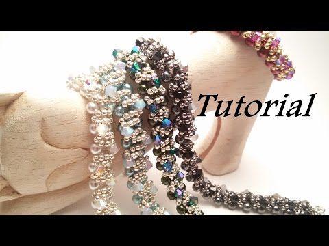 TUTORIAL Bracciale Ghirlanda con Perle Preciosa e Bicono | Christmas bracelet TUTORIAL - YouTube