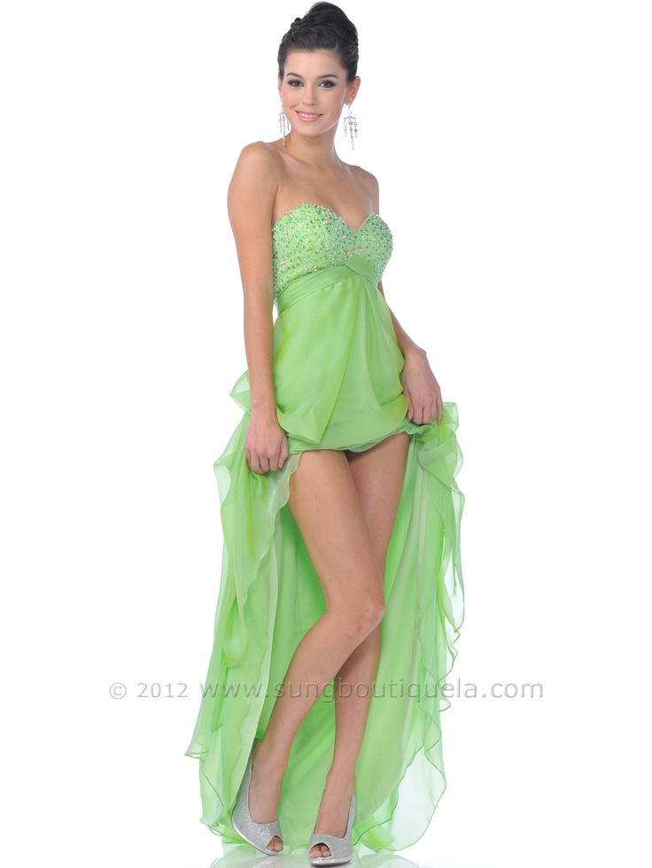 lime green strapless cocktail dress « Bella Forte Glass Studio