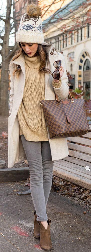 BLANKNYC Skinny Jeans in Gray | Leith Oversized Turtleneck Sweater | Lauren Ralph Lauren Knit Cuff Funnel Neck Basket Weave Coat