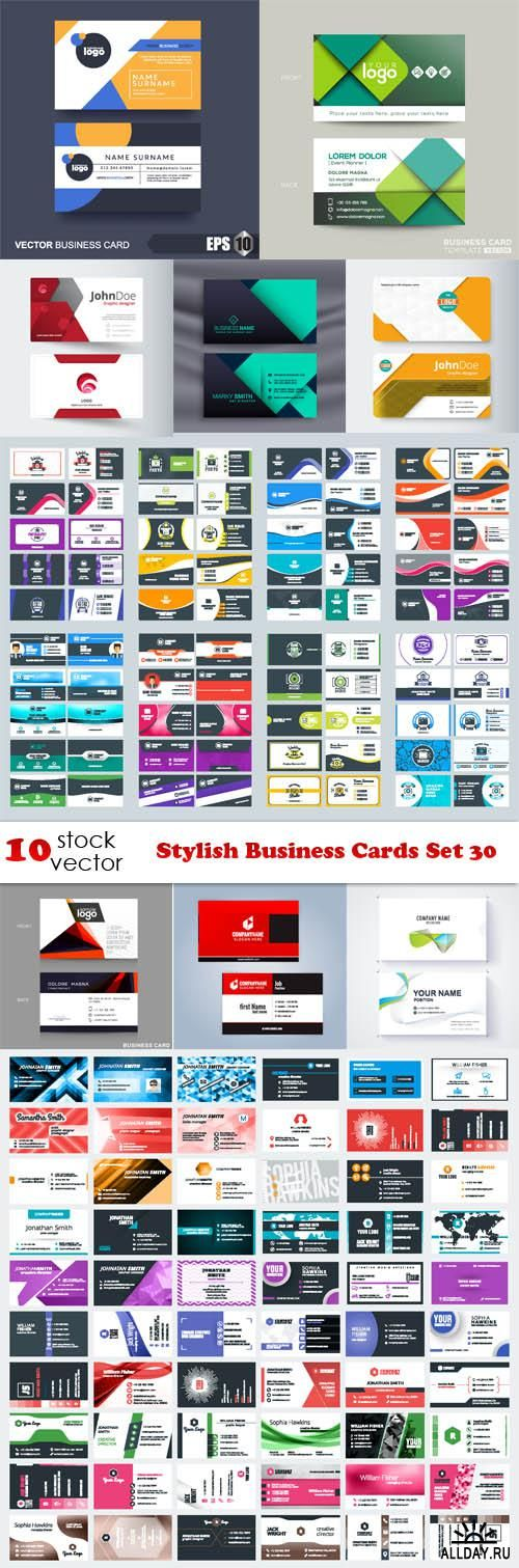 Vectors - Stylish Business Cards Set 30
