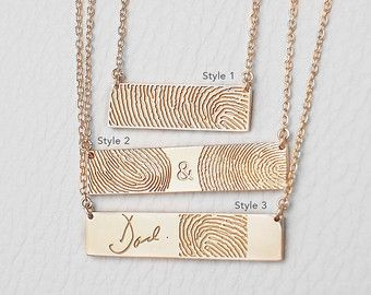 Actual Fingerprint Necklace with Actual Handwriting - Loved One Fingerprints - Personalized Memorial Jewelry #PN10F