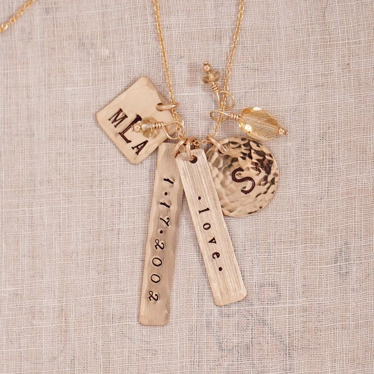 personalized necklace, hand stamped jewelry, mothers day jewelry gift, gold, charm necklace, name necklace