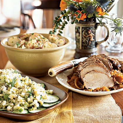 Oktoberfest menu -  Herring and Apple Salad, Pork Loin Braised with Cabbage, Warm Potato Salad with Beer and Mustard Dressing, Brown Beer Rye Bread, Ginger Cake