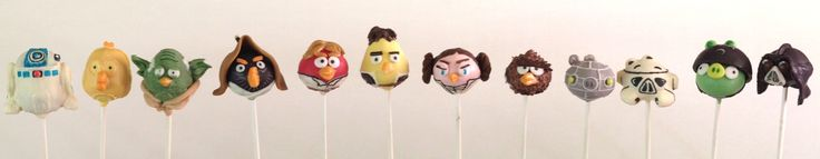 Angry Birds Star Wars character cake pops! #Cake #cakepop #angrybirds #angry #birds #Star #wars #characters #birthday #party #theme
