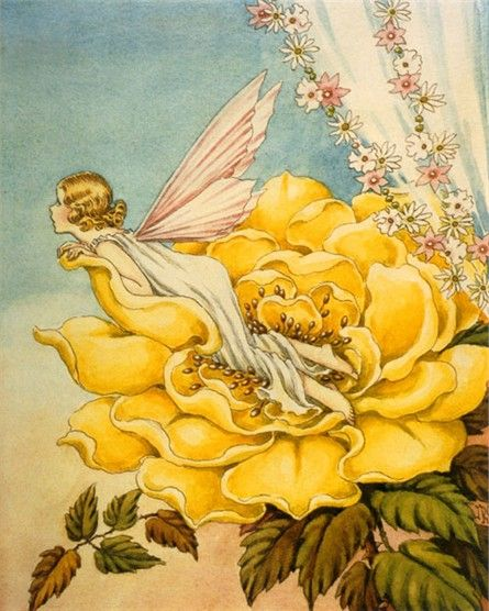 Bright and sunny, the Fairy Bloom Vintage Artwork features a hopeful fairy nestles in a bright yellow flower.   Delight your kid's room or nursery with this enchanting vintage wall art!