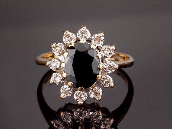 Diamond Sapphire Engagement Ring Princess by BelmontandBellamy