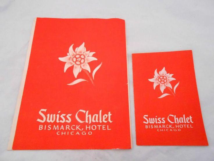 SWISS CHALET BISMARCK HOTEL CHICAGO 1949 DINNER DESSERT MENUS GERMAN SWISS