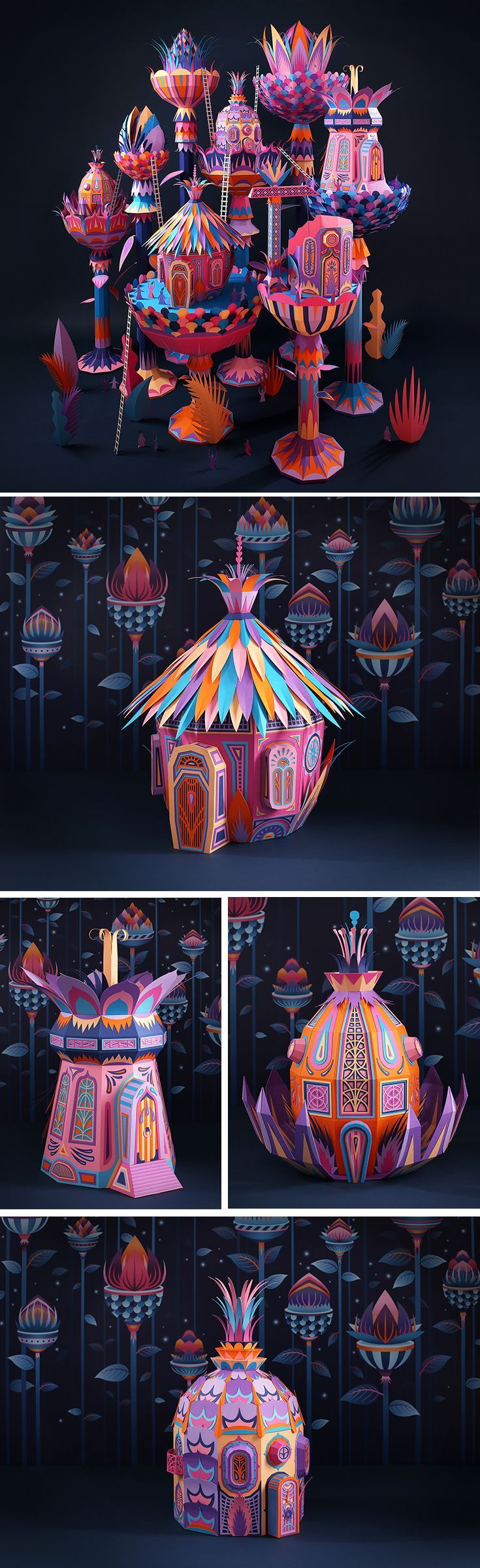 Click for more pics! Fantastic Miniature Worlds Bursting with Color for Hermès Window Display in Dubai #paperart #paper #art