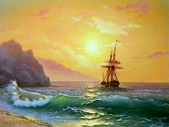 Sunset over the sea Landscape oil canvas 90th