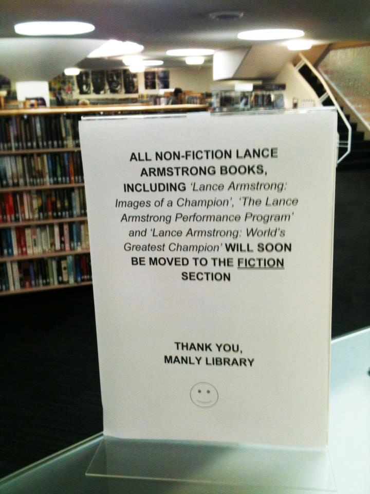 All books about Armstrong being the champion moved into fiction section of the library.