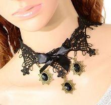 La orden mínima $10 estilo gótico moda Retro collar de encaje negro arco collar de la mujer colgante(China (Mainland))