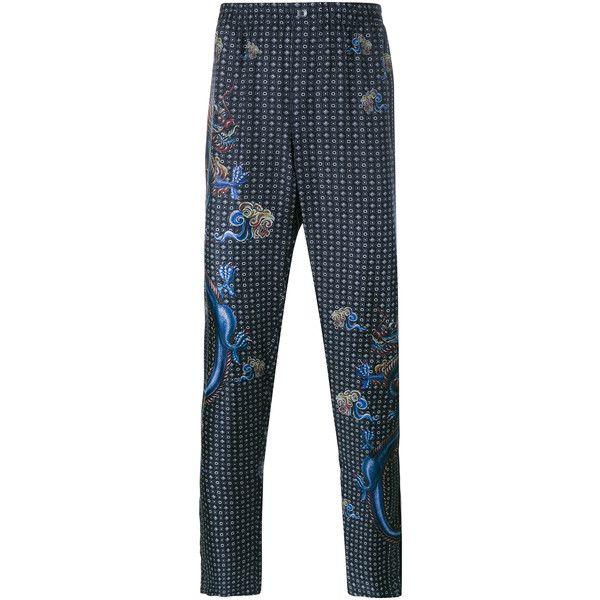DOLCE & GABBANA Dragon Print Silk Pyjama Trousers ($840) ❤ liked on Polyvore featuring men's fashion, men's clothing, men's pants, men's casual pants, mens patterned pants, mens print pants, mens elastic waist pants, mens silk pants and mens elastic waistband pants