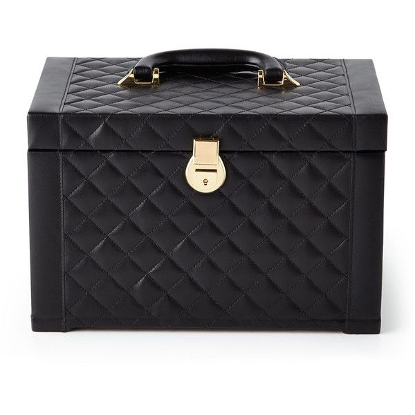 Horchow Black Quilted Jewelry Box found on Polyvore